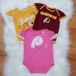 Three NFL size 12 mos Washington Redskins onesies